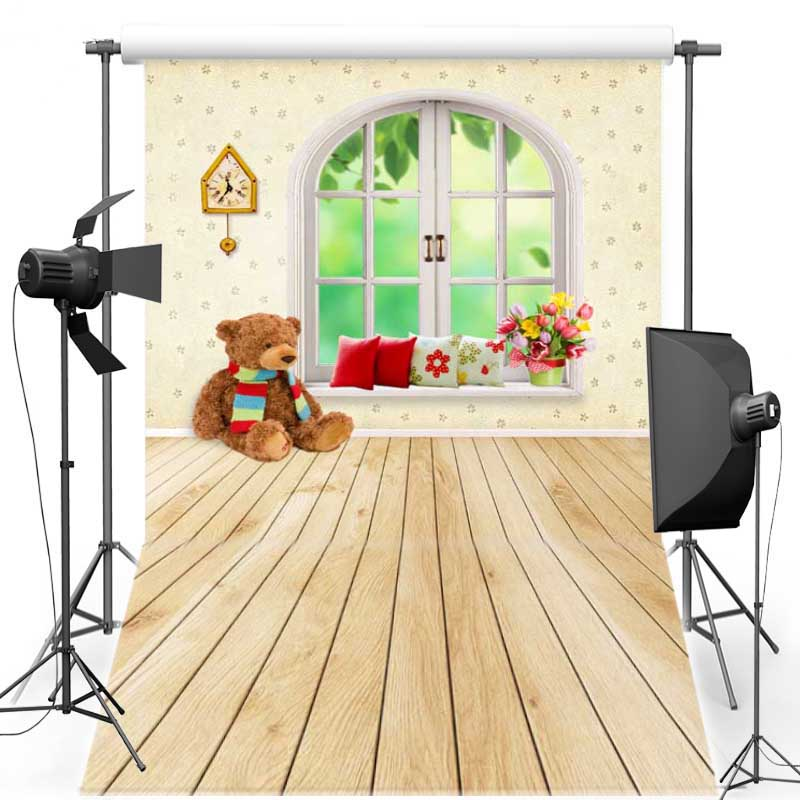 Window Vinyl Photography Background Backdrops For Wedding Bear Doll New Fabric Polyester backgrounds for photo studio F1485 2015 new 10ft 16ft photo studio vinyl backgrounds special design white wedding theme backdrops f 1243