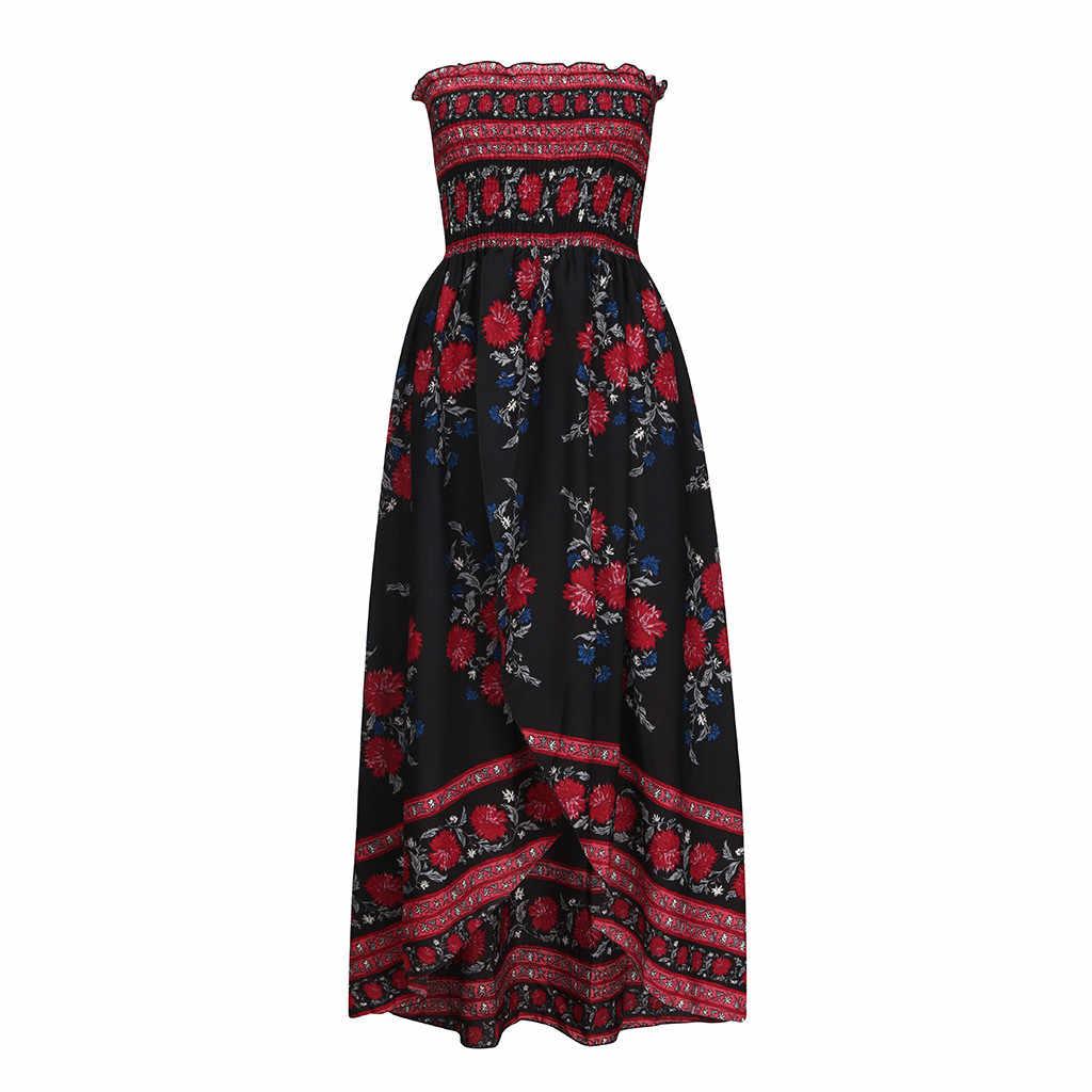 Вечерние платья женские Бохо с открытыми плечами Длинные Макси Вечернее пляжное платье цветочный сарафан клетчатый принт повседневные Элегантные вечерние платья