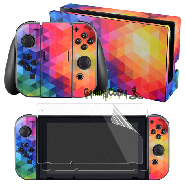 eXtremeRate Coloful Skin Sticker Covers 2 Pcs Screen Protectors for Nintendo Switch