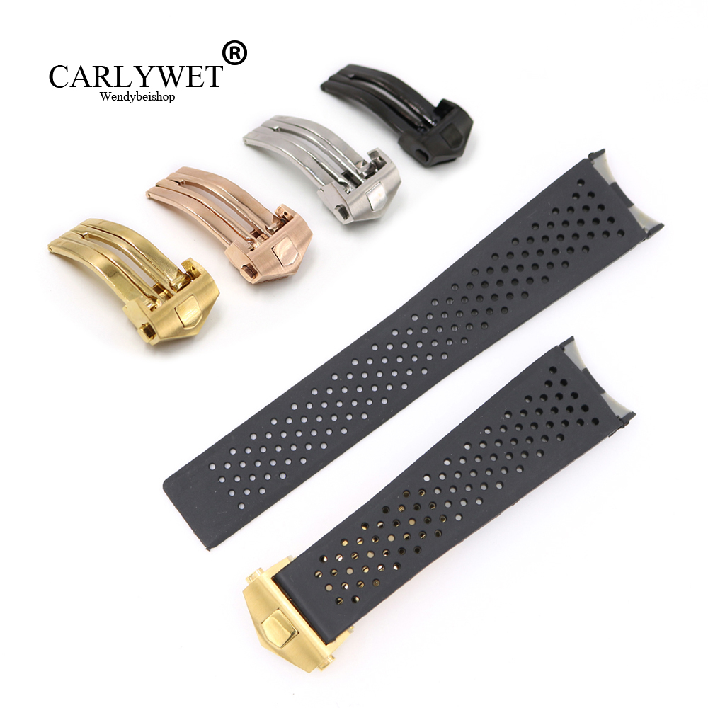 CARLYWET 22*18mm Black Waterproof Silicone Rubber Replacement Wrist Watch Band Strap With Silver Color Buckle