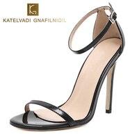Womens Sandals Summer Gladiator Sandals Women Shoes 11CM High Heels Black Women Sandals Sexy Shoes Sandalias Mujer 2018 K 105