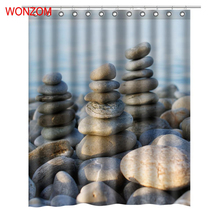 WONZOM Landscape Stone Shower Curtains with 12 Hooks For Bathroom Decor Modern Bath Waterproof Curtain 2017 Home Gift