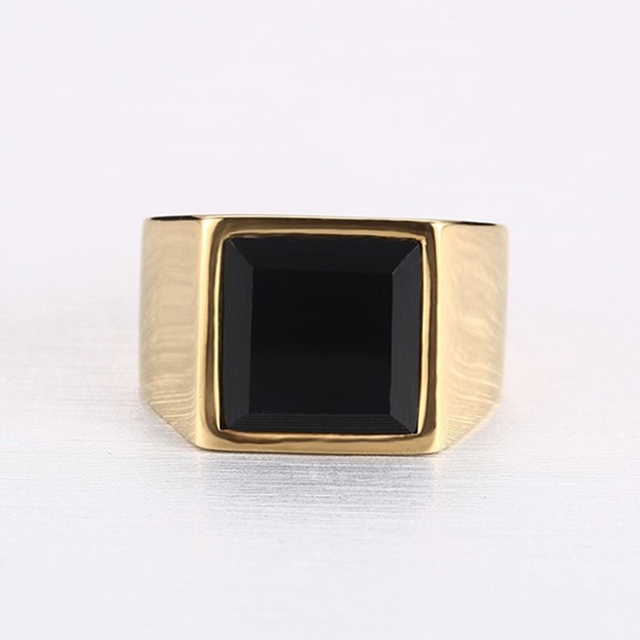 line Shop Men Gold Color Titanium Ring Black Square Black Stone