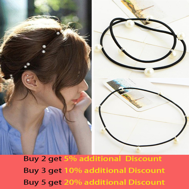 [6863]elastic band bracelet summer style hair accessories women headband clips gum weave baffle braided bow bandana ornaments
