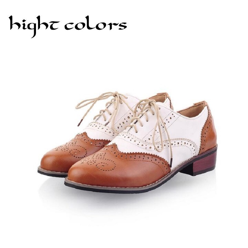 New 2018 Spring Round Toe Flat Brogue Oxford Shoes For Women Plus Size 34-43 Carved Lace Up Women Oxfords Shoes Woman Sapatos 33 45 size women genuine leather oxford shoes fashion round toe lace up flat ladies england style brogue oxfords for women d005