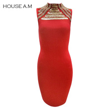 Summer Women Nightclub Fashion Bandage Dress Female Knee-Length Sexy Sleeveless Bodycon Stand Neck Hollow Out Party Pencil Dress