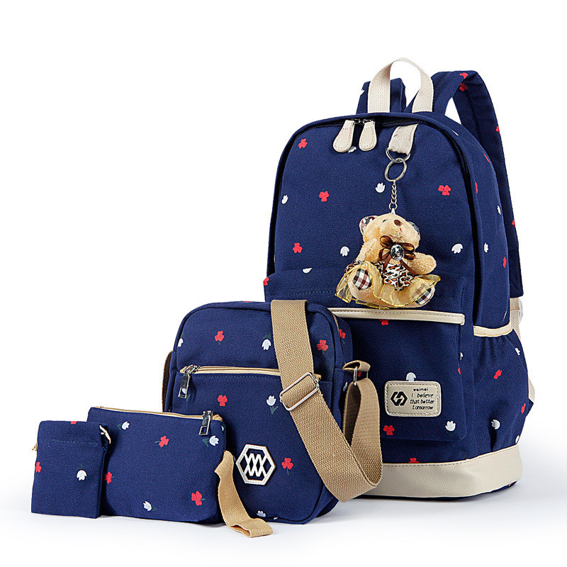 Brand 2018 Flower Printing School Bags For Teenage Girls Satchel Fashion 4 pcs/set Women Canvas Backpack Travel Bag mochila