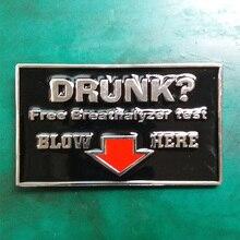 1Pcs Luxury Brand Drunk?Free Breathalyzer Test Cowboy Belt Buckle