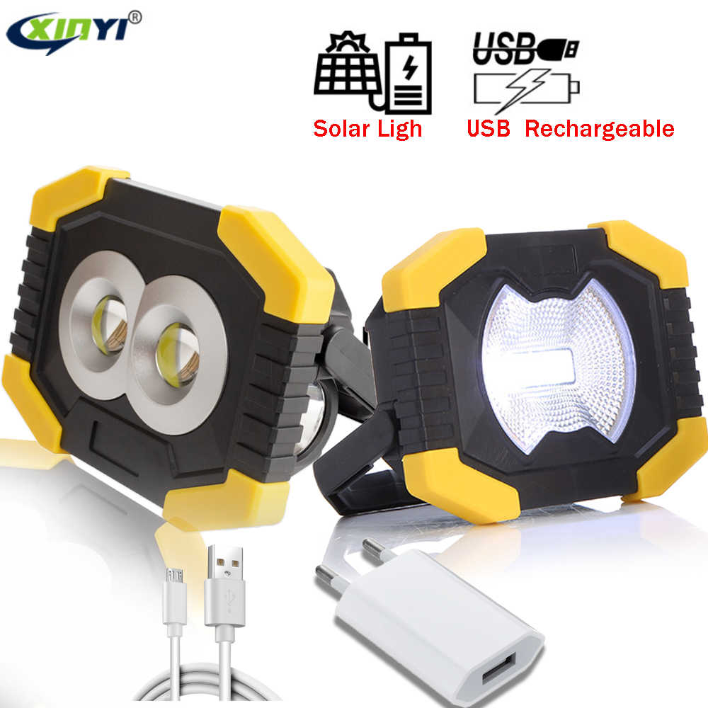 Solar Light Portable Work Spotlignt 50W Camping Light Lantern USB Rechargeable COB LED Flashlight Searchlight For Outdoor