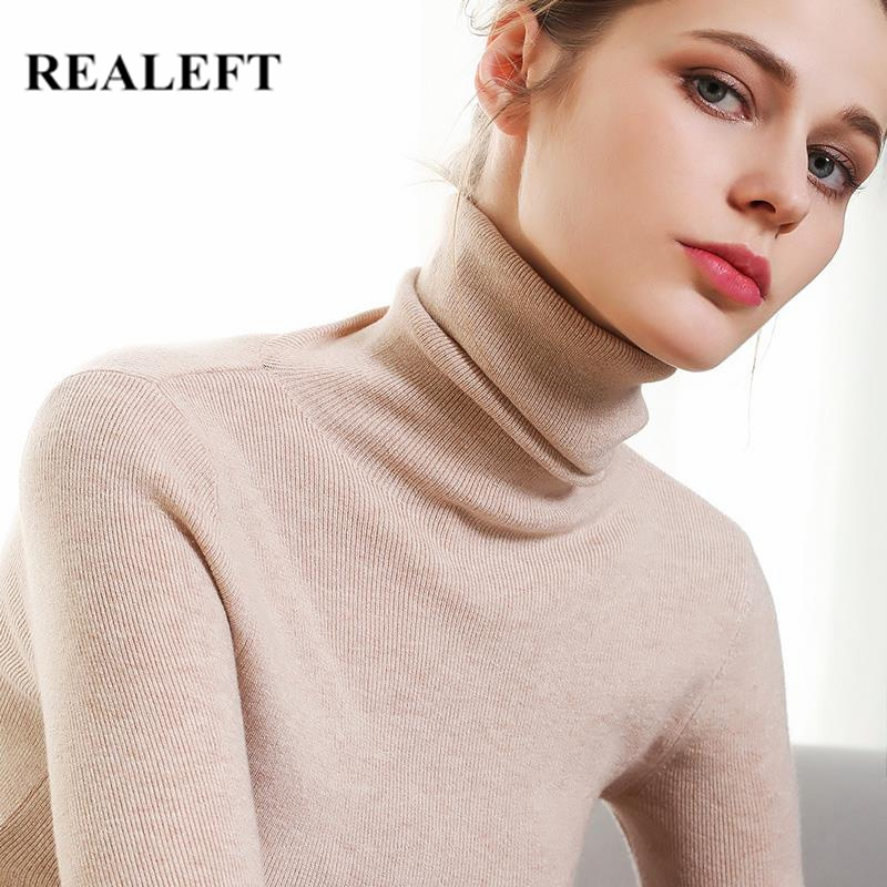 REALEFT New Arrival 2019 Autumn Winter Solid Basic Knitted Cardigans Women Turtleneck Sweater Women Long Sleeve Black Pullovers
