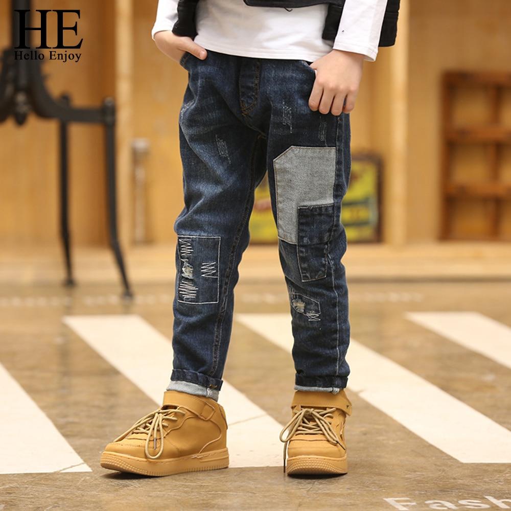 HE Hello Enjoy Boys Pants Trousers Children Jeans Boys Kids Spring Autumn 2018 Teenage Boys Jeans denim Patchwork Skinny 12 year цена