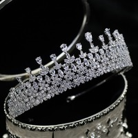 Parmalambe Petite Zircon Silver Hair Tiaras Glinting Hair Jewelry Flower Charms Bridal Headpieces Crown Wedding Hair Accessories