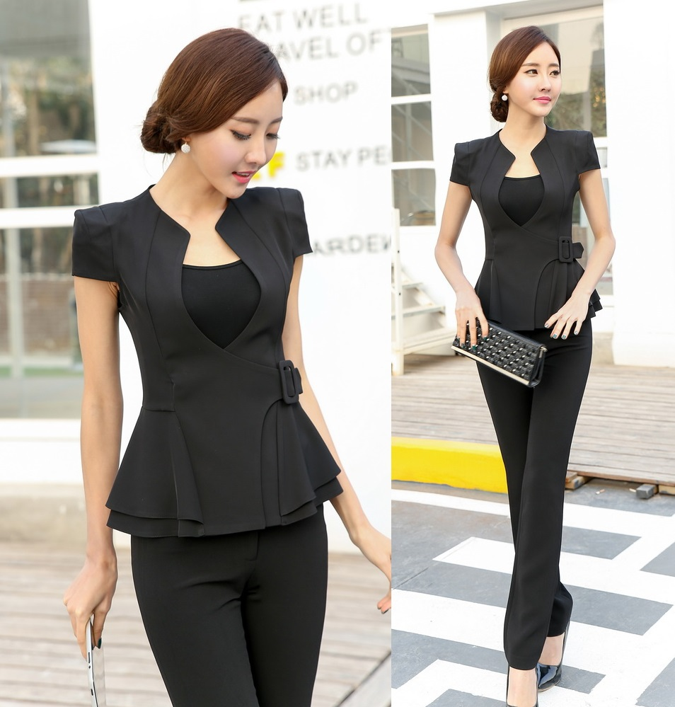 Novelty Las Pant Suits For Women Business Formal Office Work Wear Blazer And