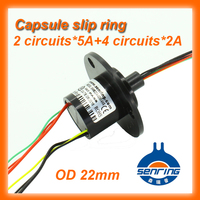 Capsule Mini Slip Ring OD 22mm 2 Wires 5A 4 Wires 2A With Flange