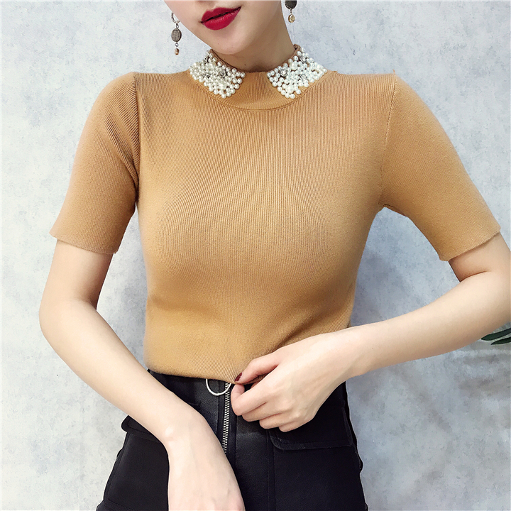 ALPHALMODA 18 Summer Ladies Short-sleeved Pearl Collar Pullovers Casual Slim Knit Sweater Women Studded Fashion Jumpers 21