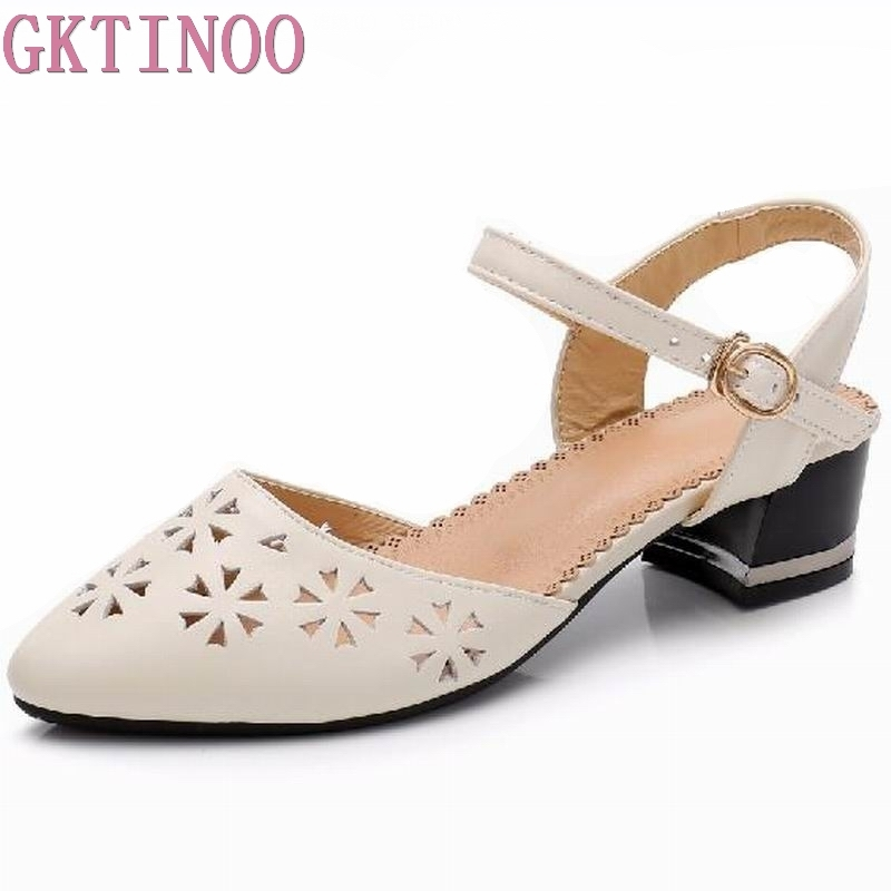 GKTINOO Hollow-Out Women Sandals 2018 Summer Platform Genuine Leather Sandals Comfortable High Thick Heels Shoes Plus Size 34-43 sweet women s sandals with hollow out and platform design