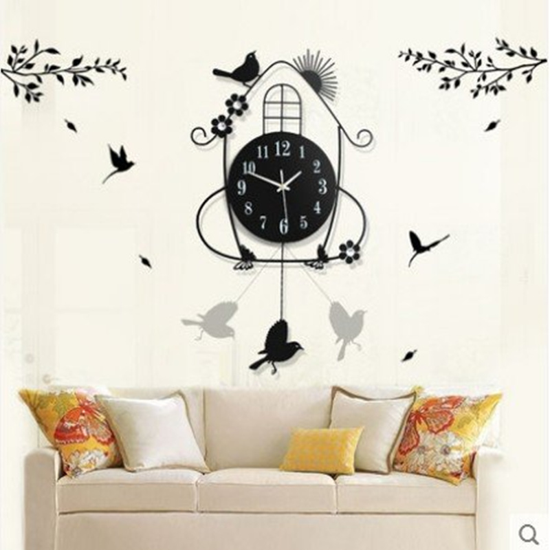 Creative black iron swing hanging bird durable electronic wall clock large wall arts and crafts modern