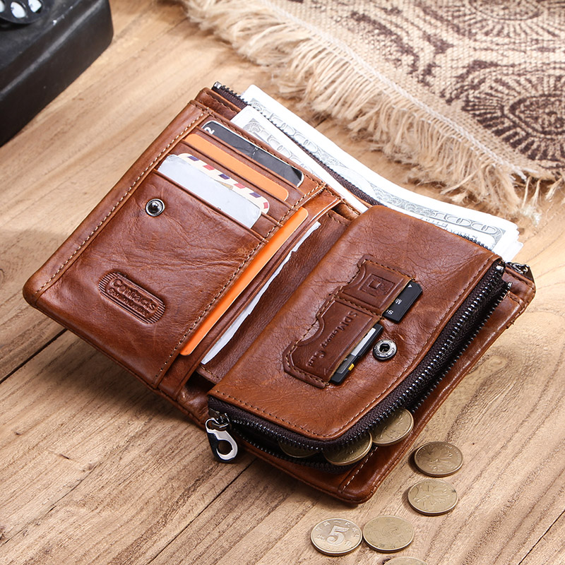 Image 5 - CONTACTS Genuine Leather Men Wallet Short Coin Purse Male Small Vintage Hasp Wallets High Quality Card Holders Cuzdan For ManWallets   -