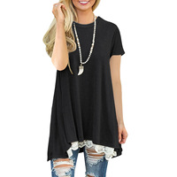 VITIANA Women Casual Long Shirt Female Fashion Black Short Sleeve Round Neck Tops Tee Loose T