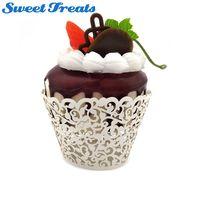 Sweettreats bolo de copo de papel 100 pcs Pouco Vine Lace Laser Cut Cupcake Wrapper Liner Baking Copa do Muffin do bolo ferramenta
