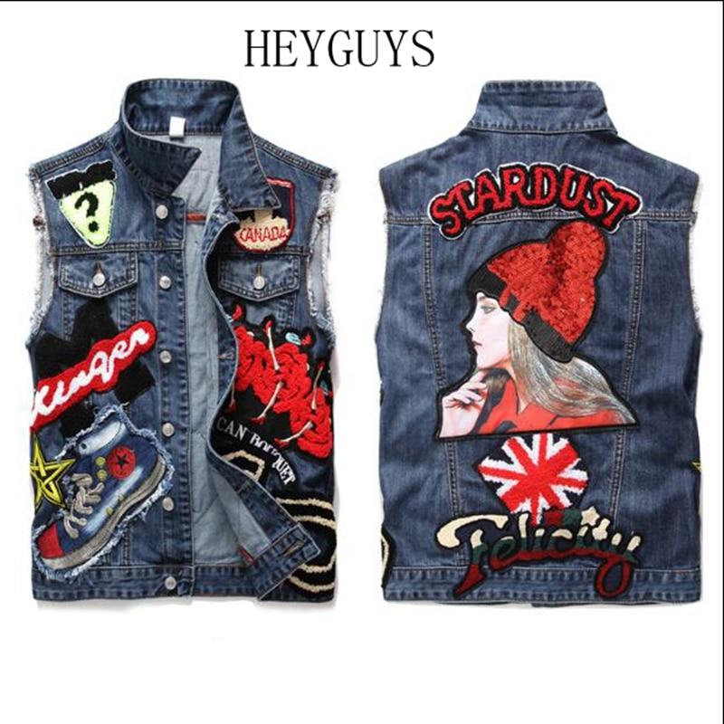 Heygars hommes patch design bleu denim gilet mode slim fit beauté broderie patchwork débardeur M L XL XXL XXXL