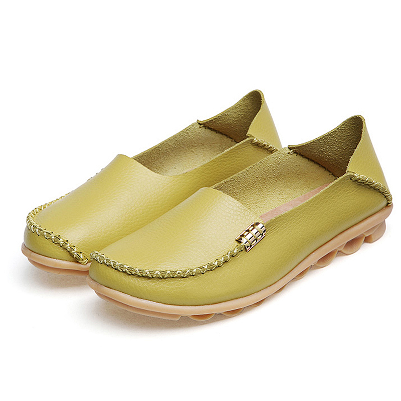 High Quality Flats Women Genuine Leather Flats Shoes Handmade Comfort Loafers Leisure Women's Shoes Slipony(China)