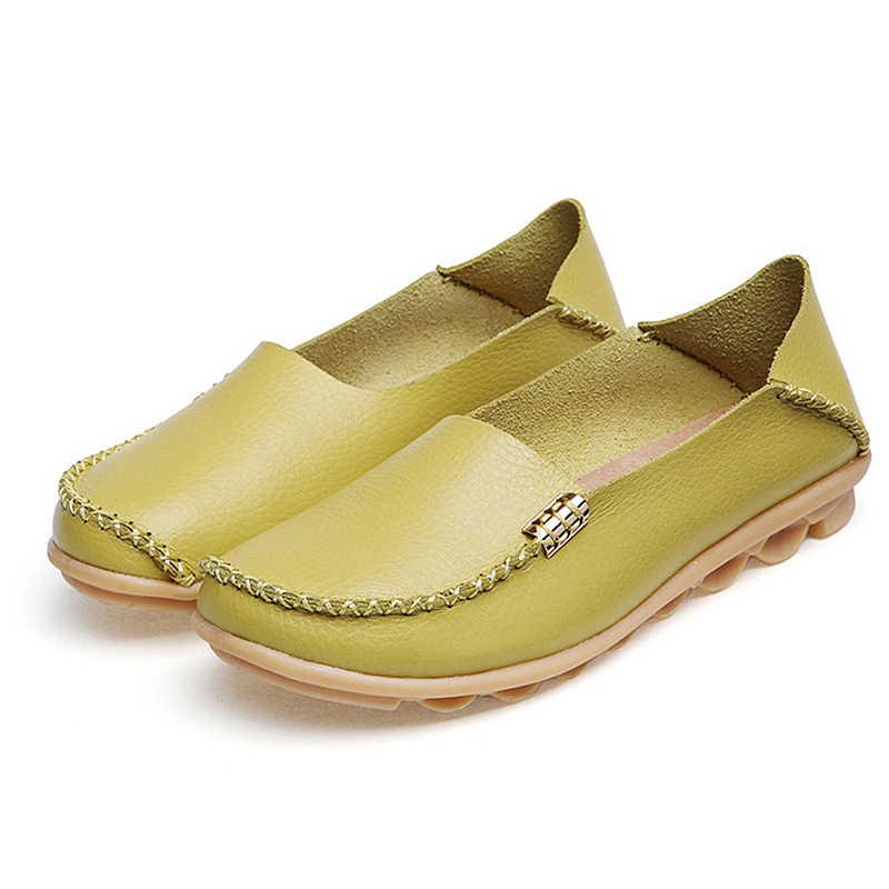 Yüksek Kaliteli Daireler Kadın Hakiki Deri Flats Ayakkabı El Yapımı Konfor Loafer'lar Eğlence kadın ayakkabısı Slipony