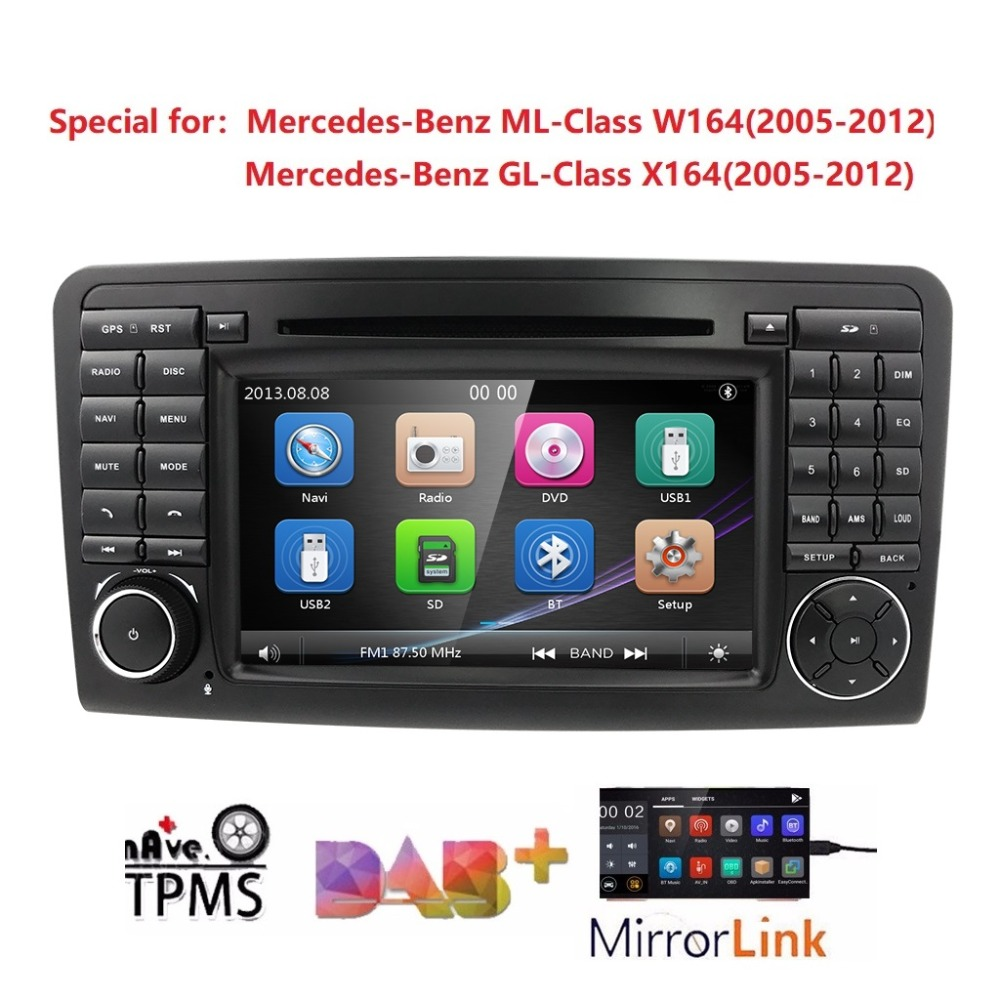 7 inch 2din Car DVD Multimedia Player For Mercedes Benz ML Class W164 2005 2012 GL