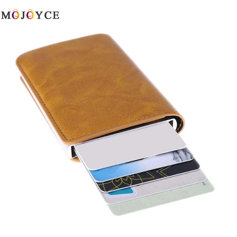 Metal Men Card Holder RFID Aluminium Alloy Credit Card Holder PU Leather Wallet Antitheft Automatic Pop Up Card Case