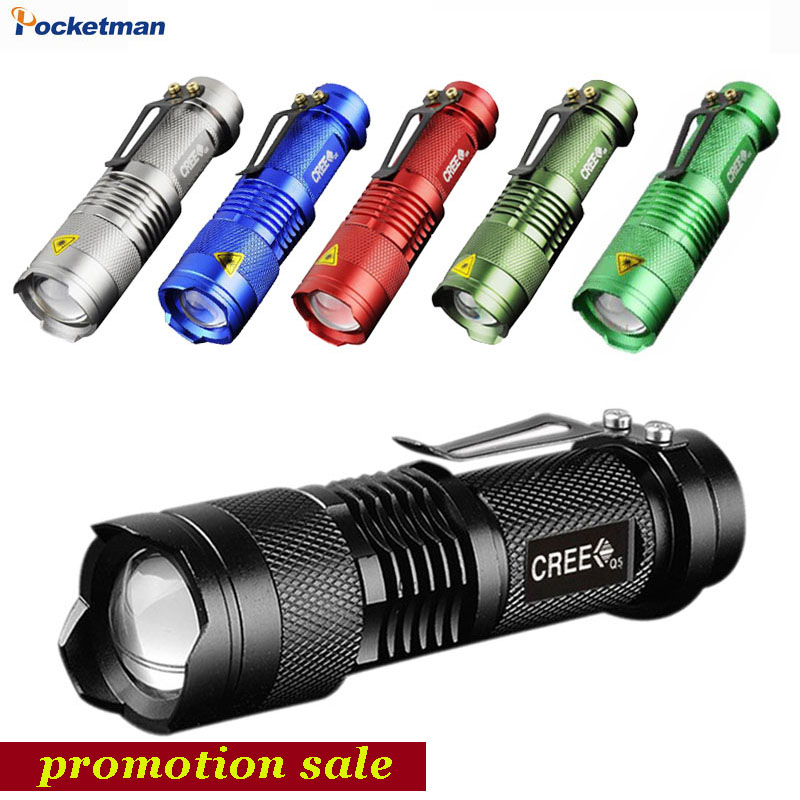 6 Colors Mini LED Flashlight 2000lm Q5 LED Torch 3 Modes Adjustable Zoom Focus Torch Lamp Penlight Waterproof AA/14500 Z50