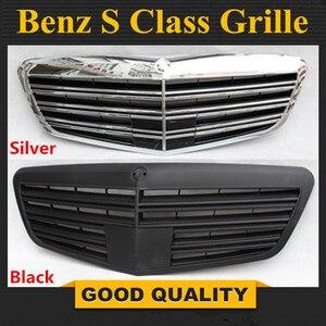 Wymiana akcesoria przedni zderzak Mesh Grille części nadające się do Mercedes Benz klasa S W221 2010-2013 S600 srebrny czarny