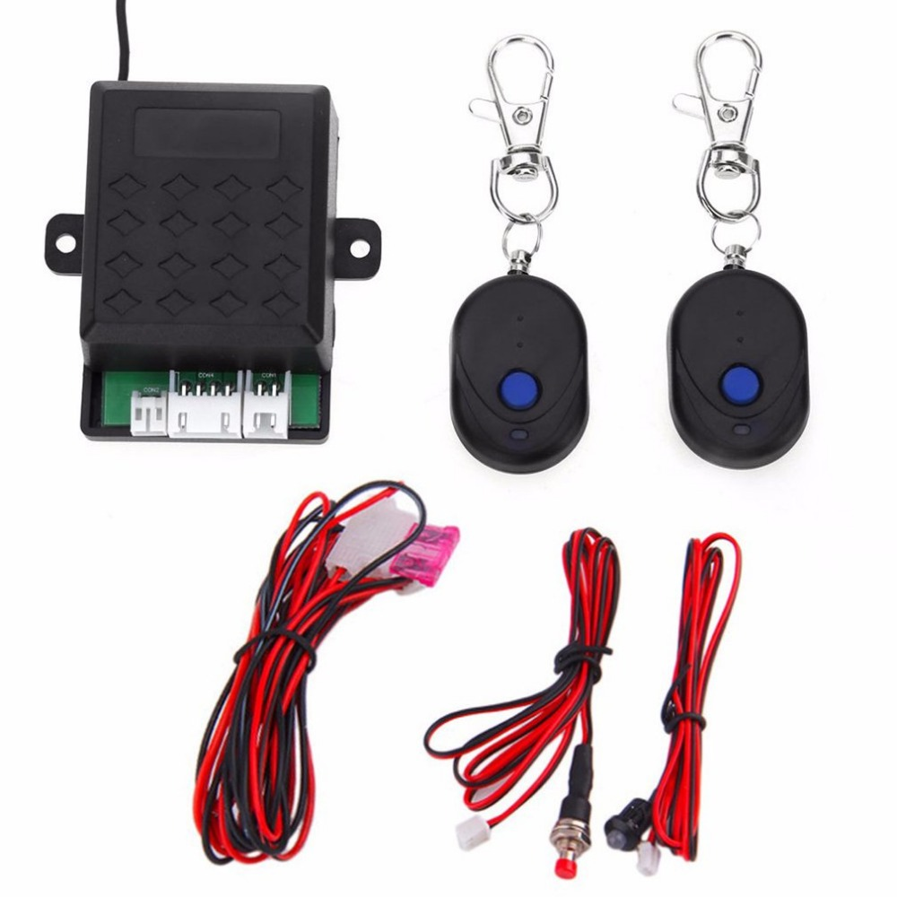 Car Anti-robbery Device Universal 12V Auto Car Alarm Immobilizer Anti Theft System + 2 Remote Controller High Security universal one way car alarm security system with four buttons remote transmitters suitable for all kinds of cars fast shipping