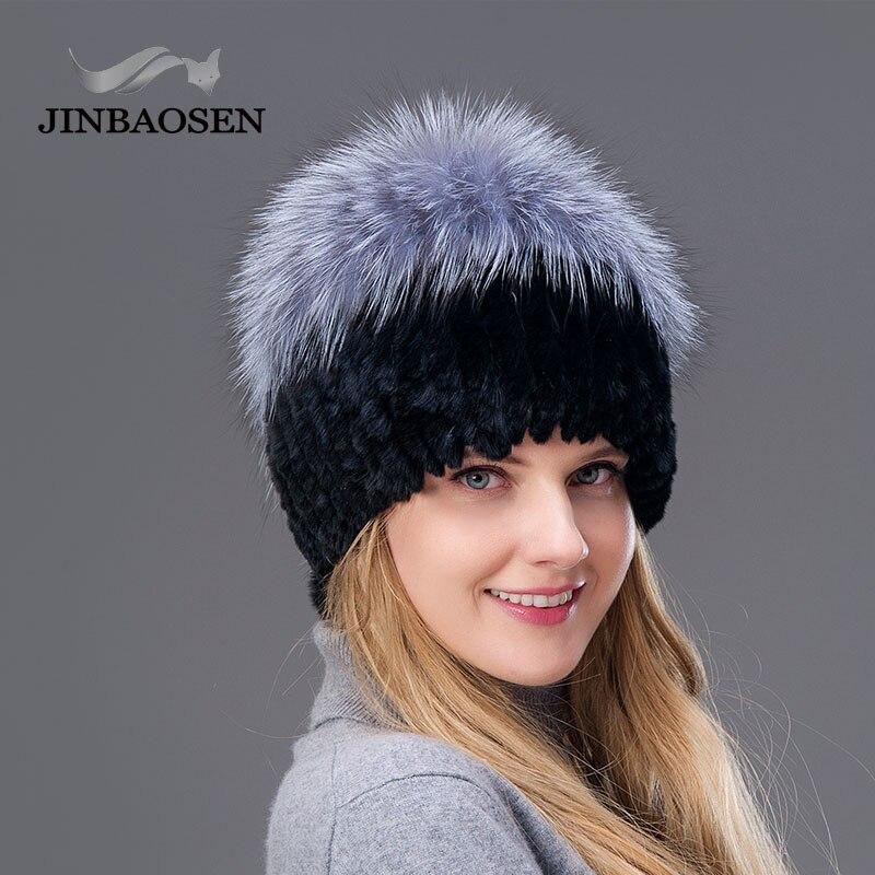JINBAOSEN 2019 hiver mode fourrure chapeau pull cap tricot doublure peau de renard décontracté lapin peau chapeau gratuit à envoyer
