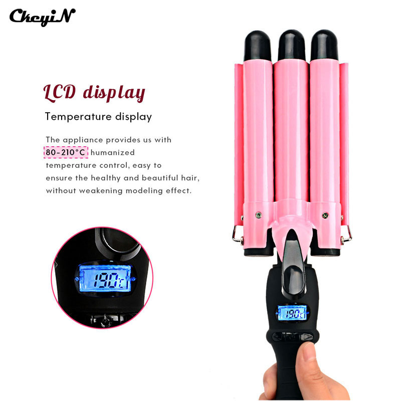 LCD Display 3 size Ceramic Triple Barrels Wave Curler hair Curling Iron wand Hair Curler Deep big Waver Hair Styling Tool beauty