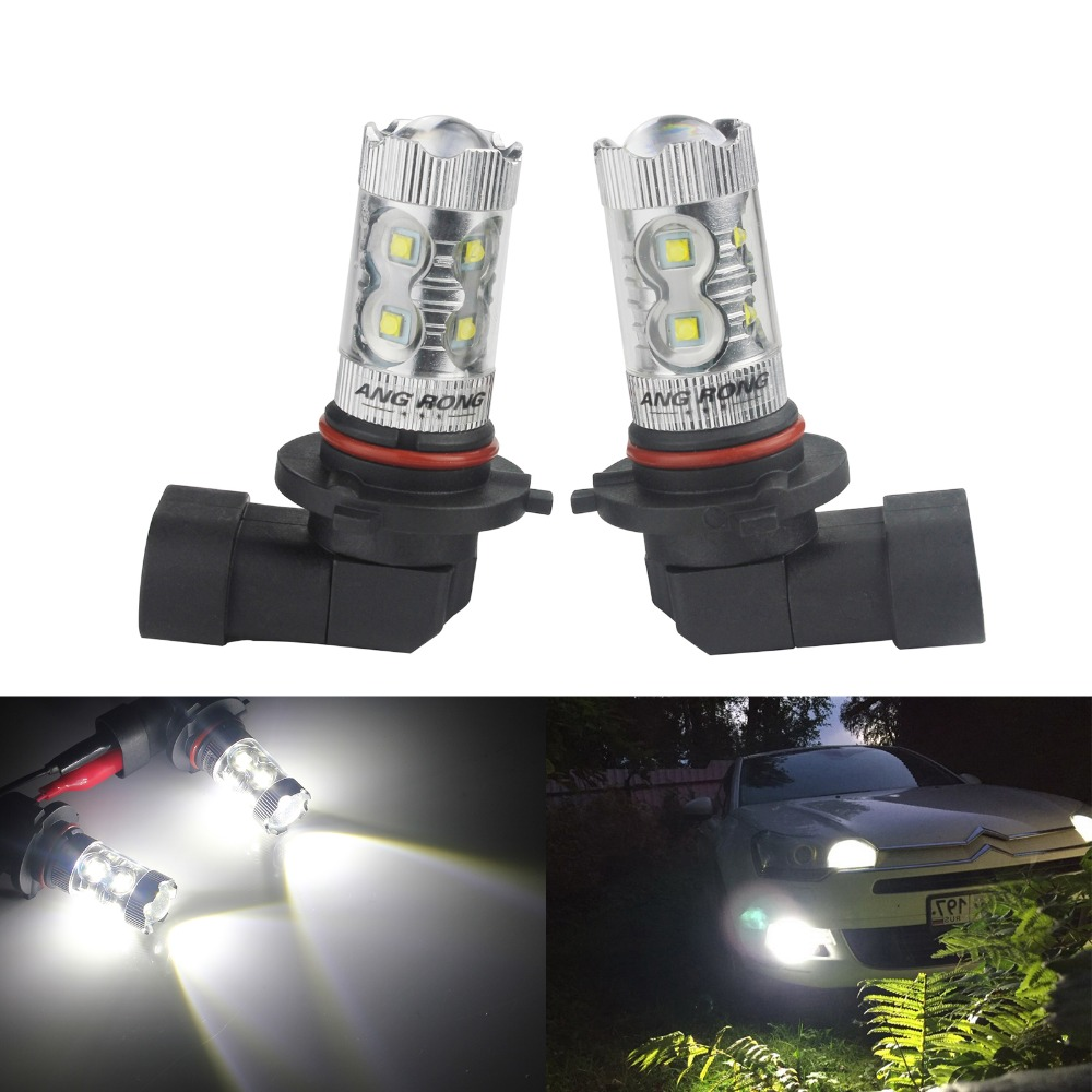 ANGRONG 2pcs HB4 9006 High Power 50W LED Daytime Sidelight DRL Fog Light Bulbs 12V