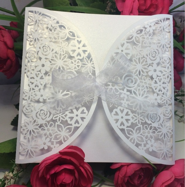 Free Shipping 10pcs unique white Square hollow flower making Party