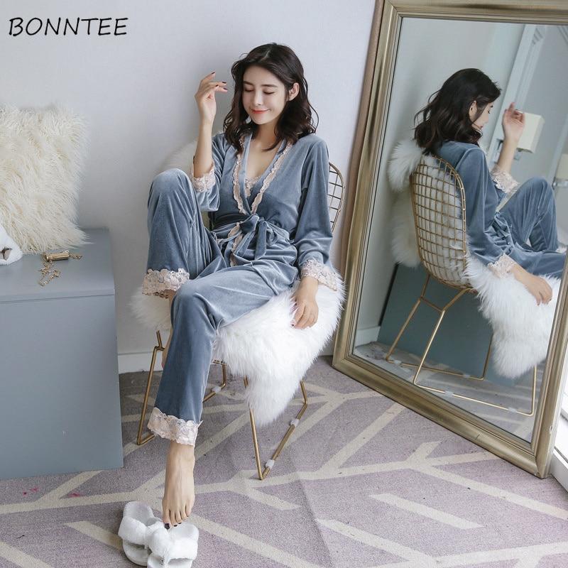 Pajama     Sets   Women Lace Patchwork Lady Elegant V-Neck Thin Smooth Soft   Pajamas   Womens Sleepwear Ankle-length Pants Long Sleeve