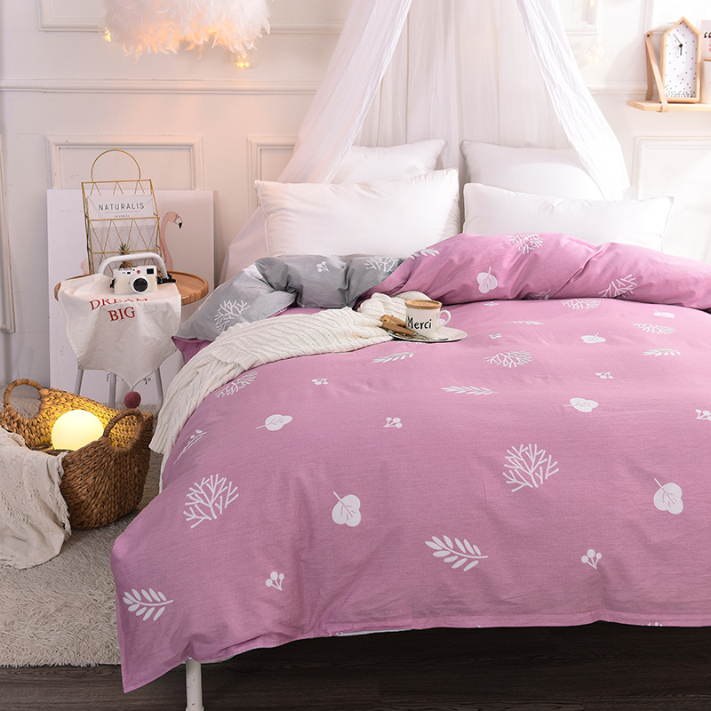 Purple Solid Color+White Printing Pattern Bedding Duvet Cover 1Pc Quilt Cover Skin Care Cotton Soft Bedclothes 180x220cm Size