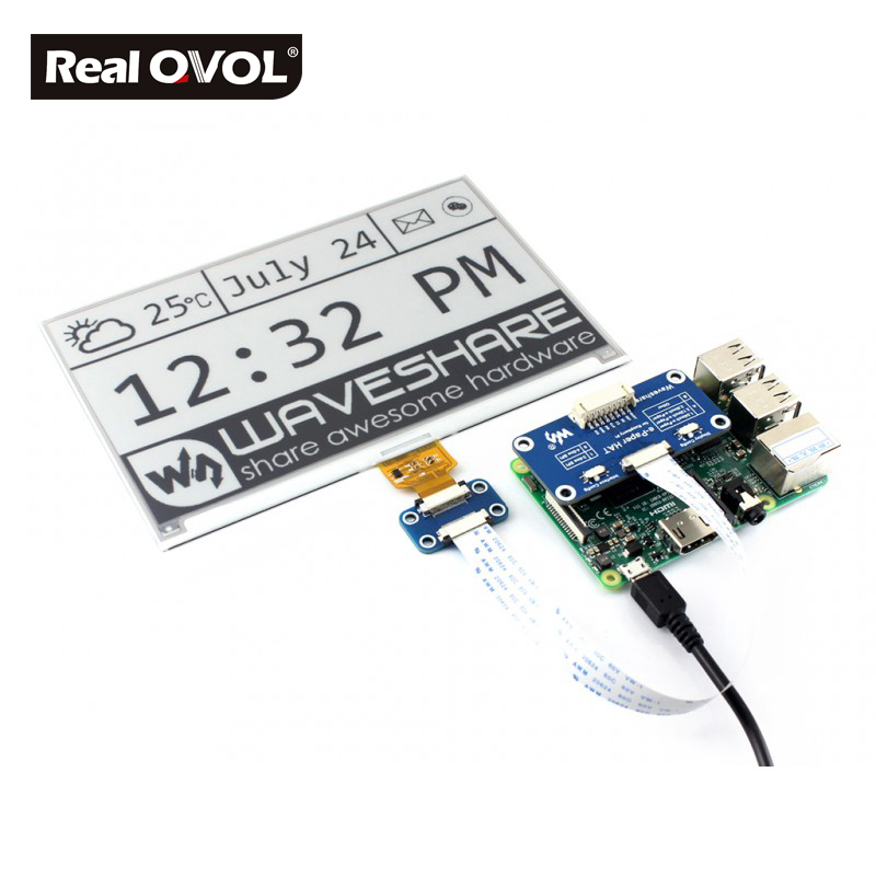 RealQvol 7 5inch e Paper HAT E Ink display HAT for Raspberry Pi SPI interface 640x384