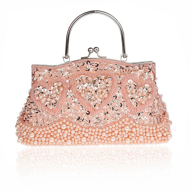 New Handmade Flowers Evening Bag Bride Purse Beaded Sequined Women Ladies Clutch Gold Party Handbags SMYCWL-E0030