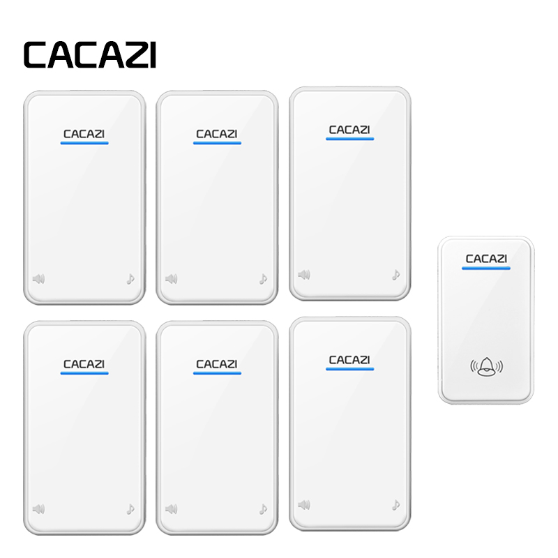 CACAZI Wireless Doorbell Waterproof Smart 300M Remoto Household AC Receiver US EU UK Plug Battery Button Calling Bell 48 SongsCACAZI Wireless Doorbell Waterproof Smart 300M Remoto Household AC Receiver US EU UK Plug Battery Button Calling Bell 48 Songs