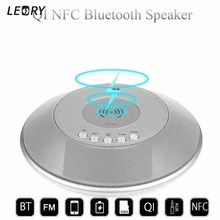 Qi NFC Bluetooth Speaker Portable Loudspeaker Qi Wireless Charger for Mobile Phone FM Radio with Alarm Clock Display Power Bank
