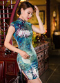 Free shipping new 2016 women fashion short sleeve silk cheongsam chinese traditional dress women's evening dresses qipao