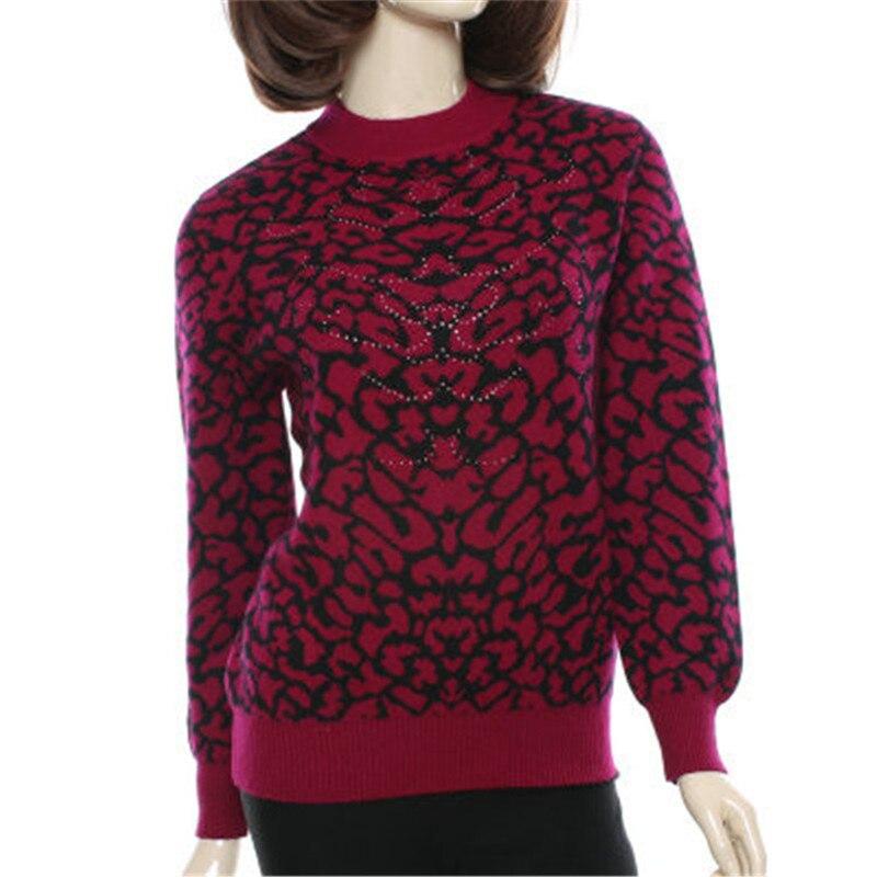 Grande taille 100% de chèvre cachemire Oneck épais en tricot femmes de mode imprimé léopard cardigan chandail orange 4 couleur M-5XL
