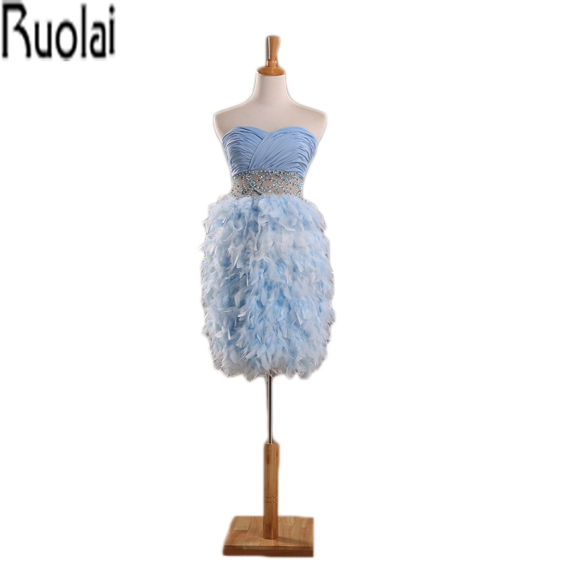 Light Sky Blue Feathers Ball Gown Knee Length Sweetheart Prom ...