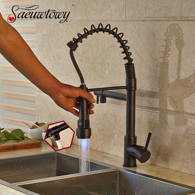 Bronze Kitchen Faucet Pull Down Island With Dishwasher Saeuwtowy Oil Rubbed Led Hot And Cold Switch Mixer Tap Spout
