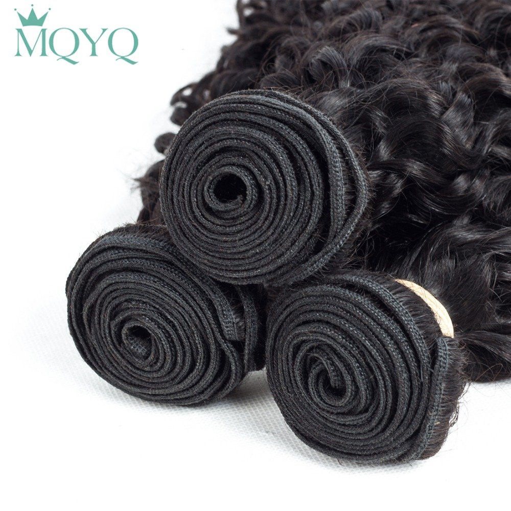 MQYQ Brazilian Curly Hair Weaving 3pcs 100% Human Hair Bundles Natural Black Color Water Wave Curly Hair Extension