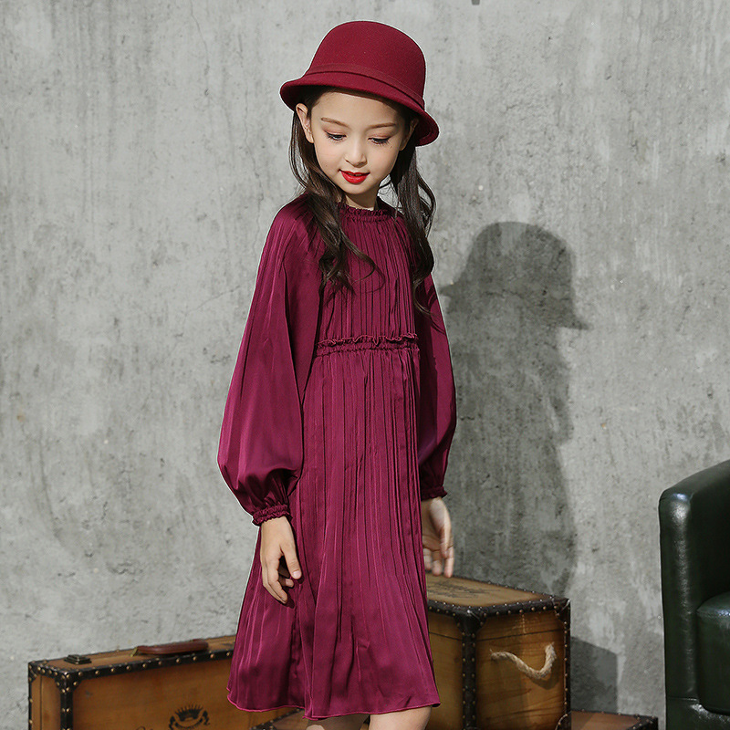 Girls Dress Long Sleeve Princess Party Dresses Autumn Children Retro Draped Lantern Sleeve High Quality for 4y-12y uoipae party dress girls 2018 autumn