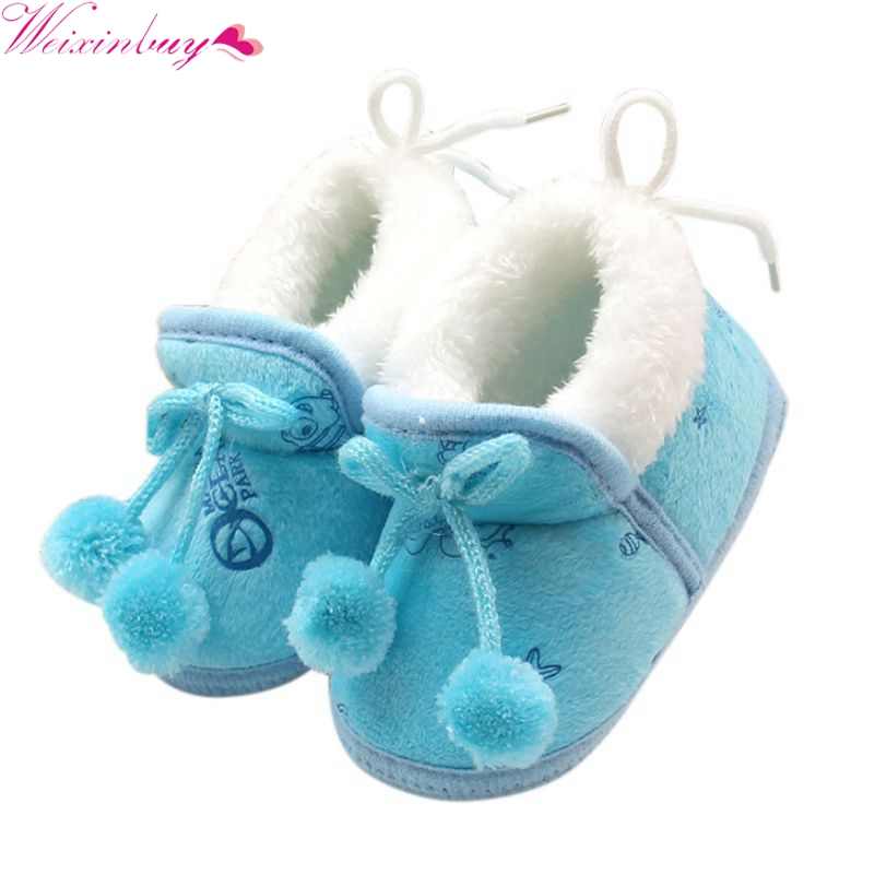 Newborn Baby Boots Girls Princess Bowknot Winter Warm Boots Soft Soled Infant Toddler Ki ...