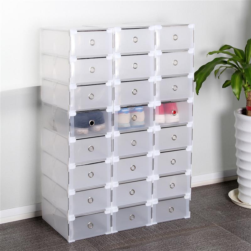 OUNONA 20PCS Plastic Crate Storage Clear Drawer Shoe Boxes Stackable Foldable Shoes Case Home Wardrobe Thicken Shoebox
